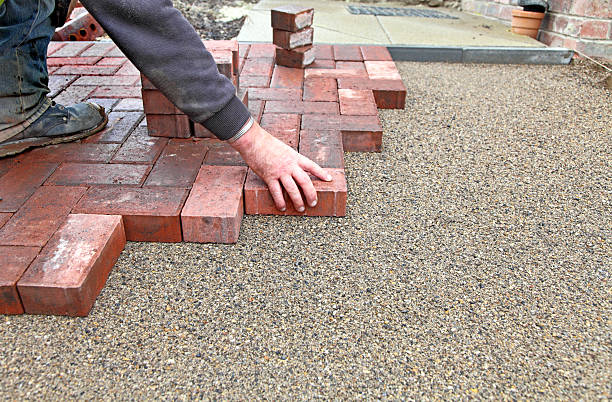 block paving drive getting layed stock photo