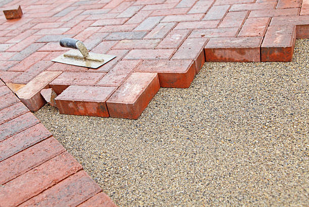 block paving under construction stock photo