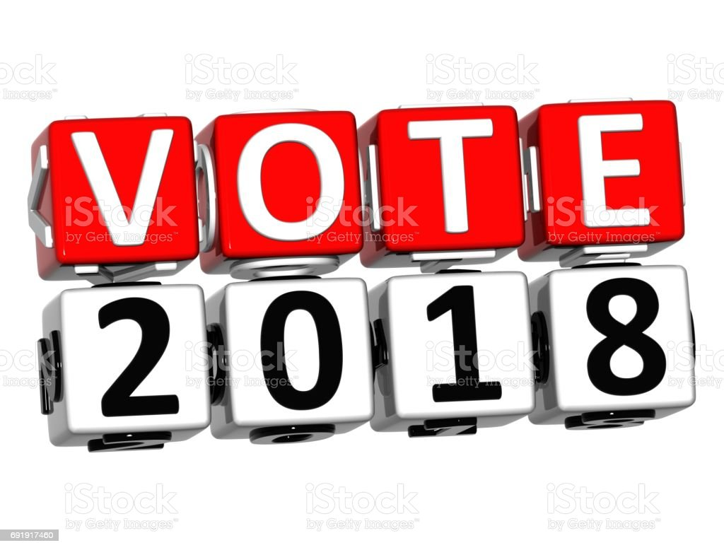 3D Block Red Text VOTE 2018 over white background. stock photo