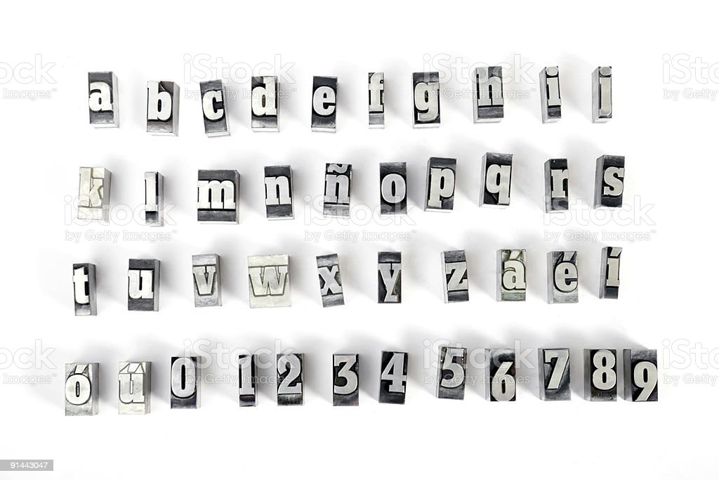 3d block stamping letters on white royalty free stock photo