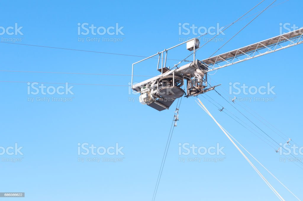Block the cable car on the sky background royalty-free stock photo