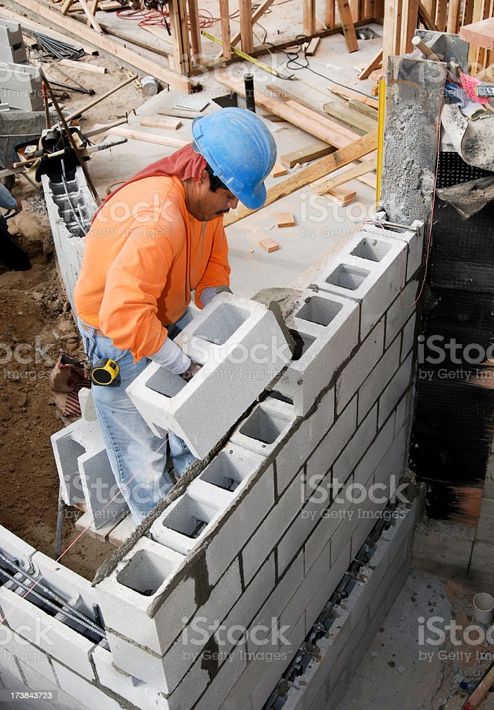 Block wall construction stock photo