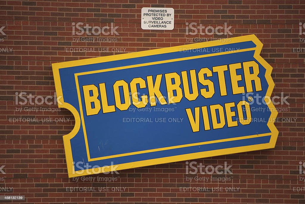 BlockBuster Video Store Sign on Building stock photo
