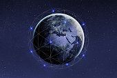 Blockchain and cryptocurrency concept. Global international business network and communication. Earth with satellites with copyspace. Elements of this photo furnished by NASA. https://eoimages.gsfc.nasa.gov/images/imagerecords/90000/90008/europe_vir_2016_lrg.png