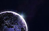 Blockchain cryptocurrency technology ,IoT or 5g concept. Global telecommunication network around Earth planet in space. Futuristic background with copyspace. Image from NASA