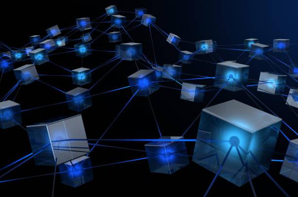 Red de datos de blockchain - foto de stock
