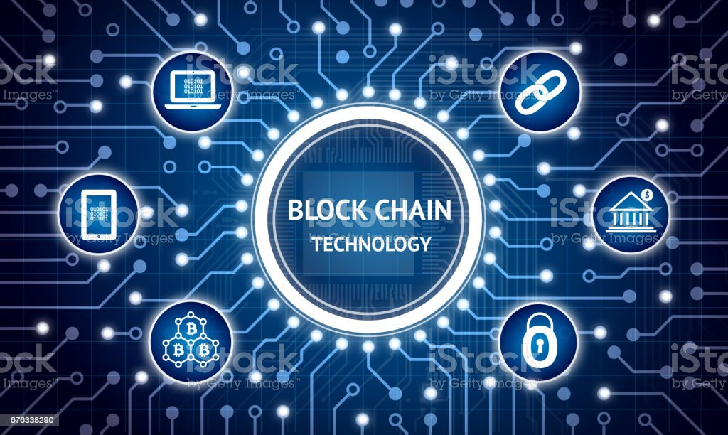 Blockchain , Distributed ledger technology , bitcoin concept. Electric circuit graphic and infographic of Block chain , network connect , security , binary coded icons. - fotografia de stock