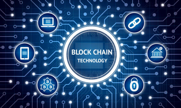 Blockchain , Distributed ledger technology , bitcoin concept. Electric circuit graphic and infographic of Block chain , network connect , security , binary coded icons. stock photo