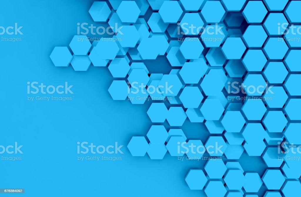 Genel muhasebe teknoloji, arka plan, cryptocurrencies veya bitcoin kavramı mavi altıgen altı yüzlü çokgen sembolü Blockchain dağıtılmış stok fotoğrafı