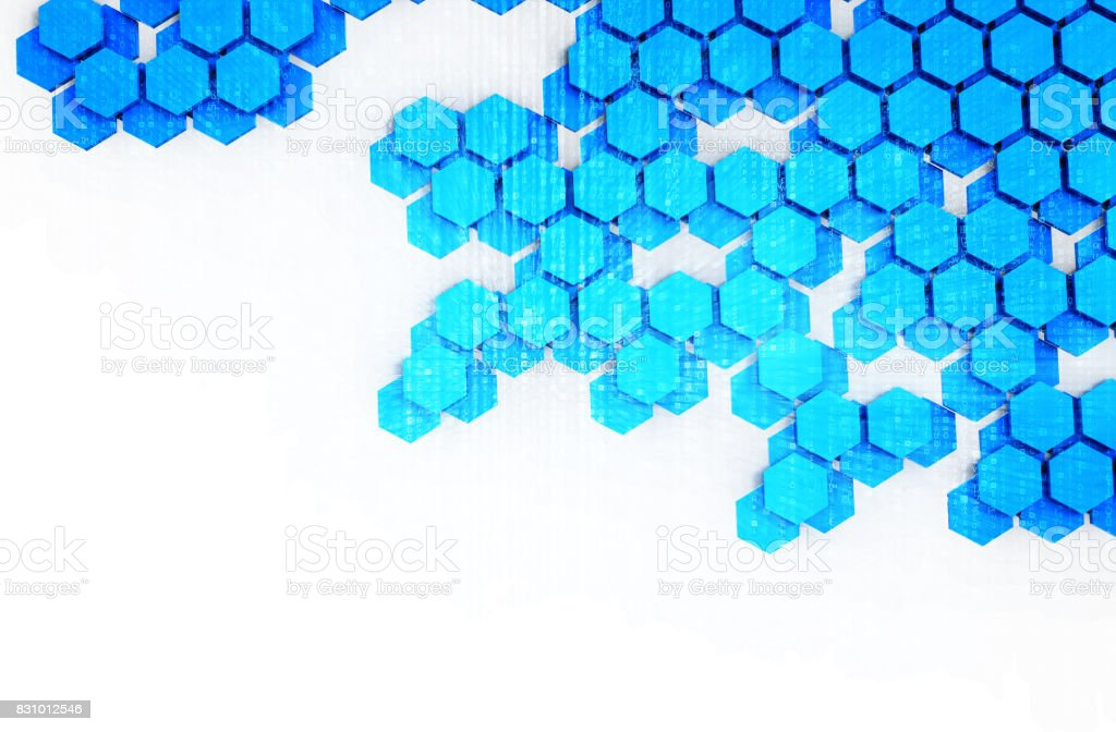 Blockchain Distributed ledger technology , cryptocurrencies or bitcoin concept. Blue Hexagon six-sided polygon symbol on white background. stock photo