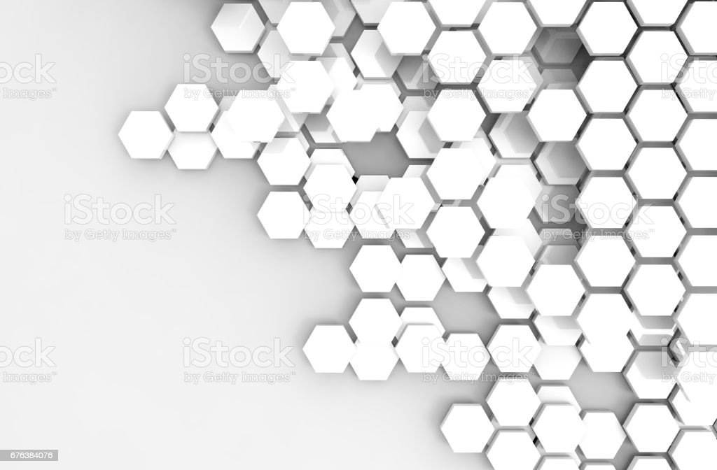 Blockchain Distributed ledger technology , white Hexagon six-sided polygon symbol on white background , cryptocurrencies or bitcoin concept stock photo