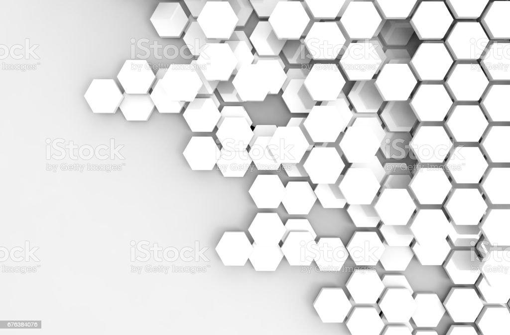 Blockchain verteilt Ledger Technologie, weiß Sechseck sechsseitigen Polygons Symbol auf weißem Hintergrund, Kryptowährungen oder Bitcoin-Konzept – Foto