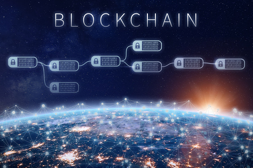 Blockchain financial technology concept with network of encrypted chain of transaction block linked around planet Earth, cryptocurrency ledger (Bitcoin), secured economy (fintech), elements from NASA