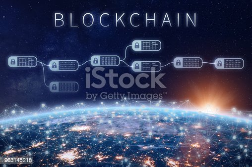 istock Blockchain financial technology concept, network encrypted chain of blocks, Earth 963145218