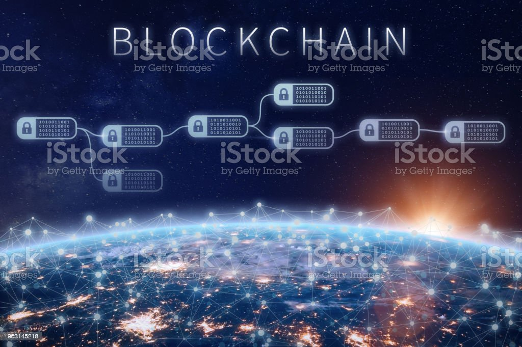 Blockchain financial technology concept, network encrypted chain of blocks, Earth stock photo