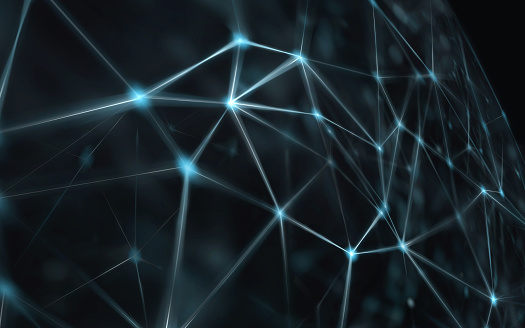 944923496 istock photo Blockchain network - Abstract connected dots on bright blue background. Internet connection, abstract sense of science and technology graphic design. 941298572