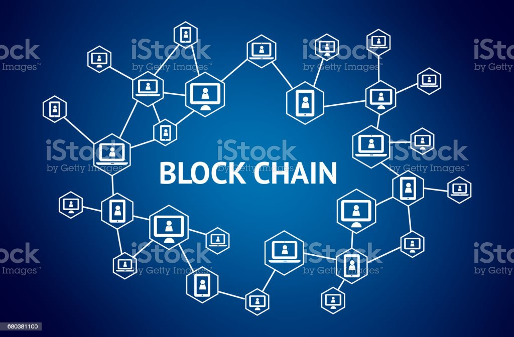 Blockchain network concept , Distributed ledger technology , Block chain text and computer connection with blue background stock photo