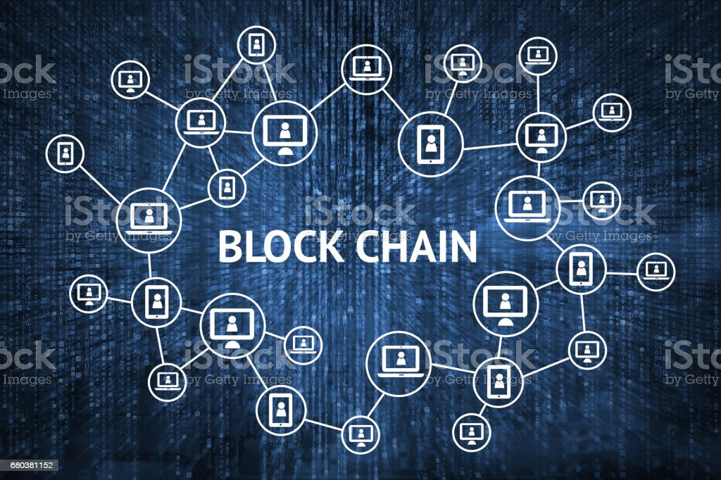 Blockchain network concept , Distributed ledger technology , Block chain text and computer connection with blue matrix coded background stock photo