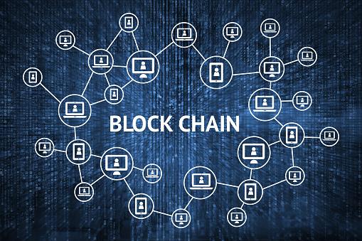 Blockchain Netzwerkkonzept Distributed Ledger Technologie Block Chain Text Und Computer Verbindung Mit Blauen Matrix Codiert Hintergrund Stockfoto und mehr Bilder von Abstrakt