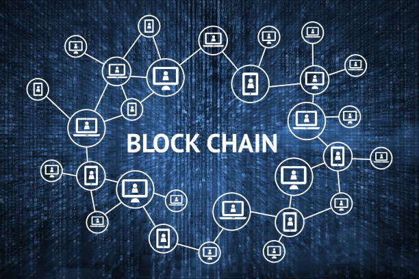 blockchain network concept , distributed ledger technology , block chain text and computer connection with blue matrix coded background - blockchain foto e immagini stock