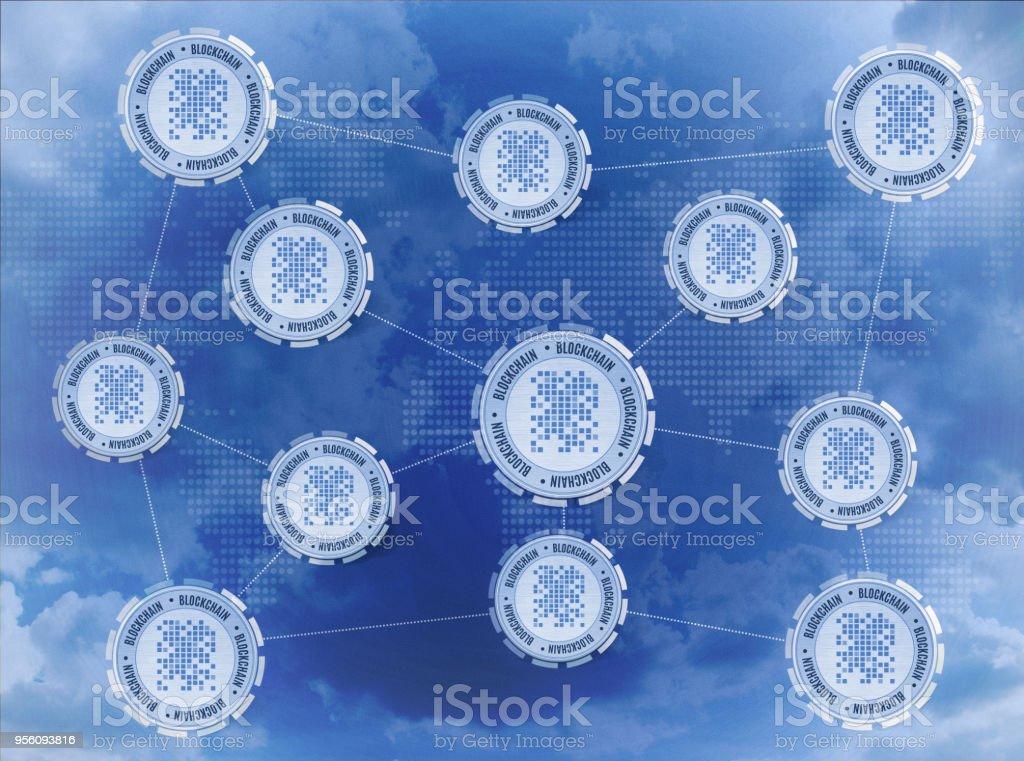Blockchain network concept stock photo