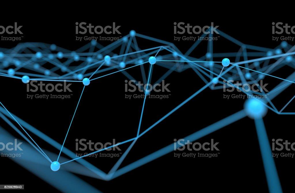 Red de blockchain, máquina de aprendizaje, aprendizaje profundo y neuronal redes concepto. Átomo de conexión distribuidos azul con fondo negro, render 3d - foto de stock