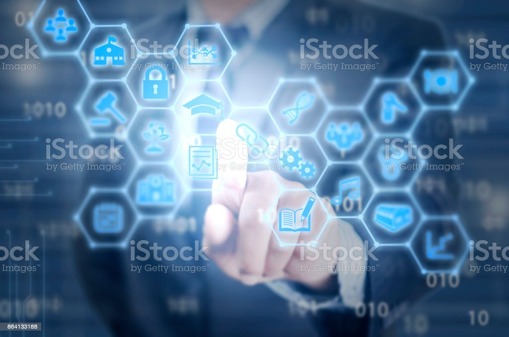 Blockchain of different industries connecting stock photo