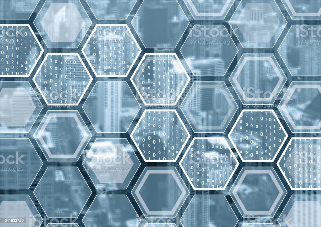 Fotografía de Blockchain O Digitalización De Fondo Azul Y Gris y más ...