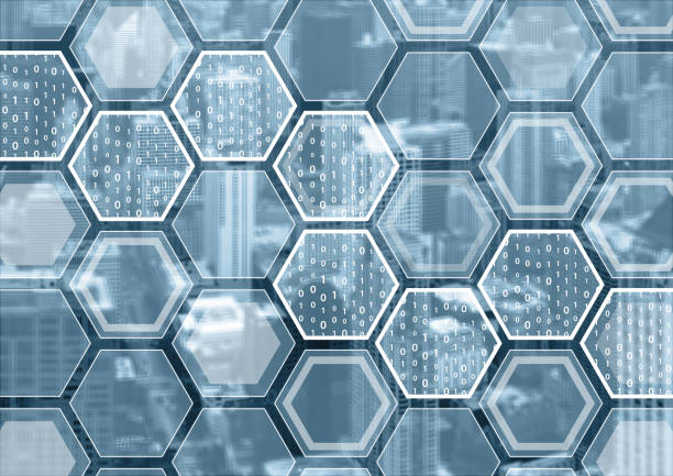 Blockchain or digitization blue and grey background stock photo