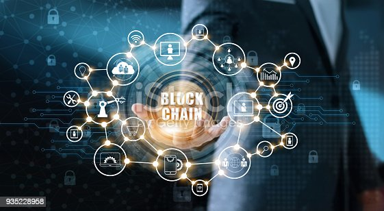 889994504istockphoto Blockchain technology and network concept. Businessman holding text blockchain in hand with icon network connection on blue security  and digital connection background 935228958