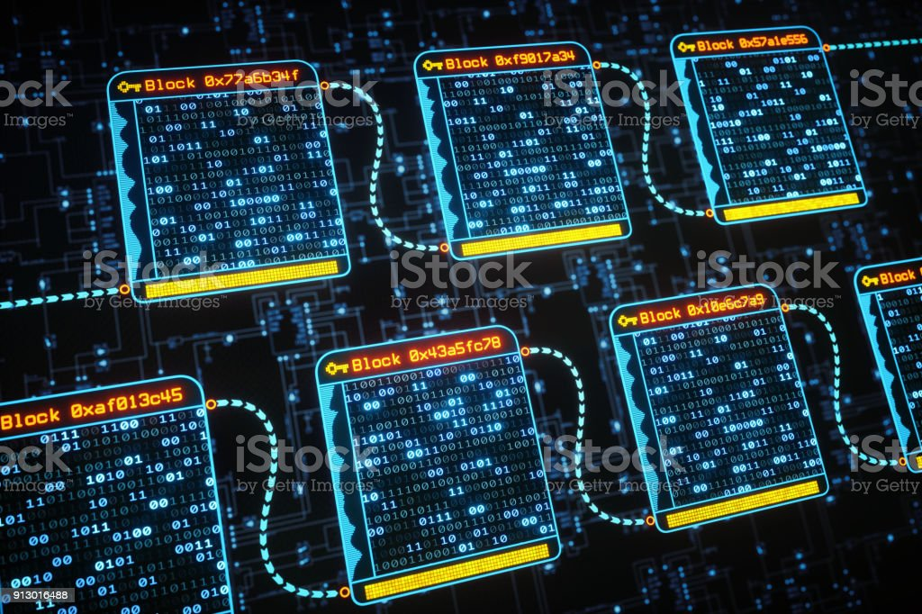 Blockchain tecnología concepto múltiple - foto de stock