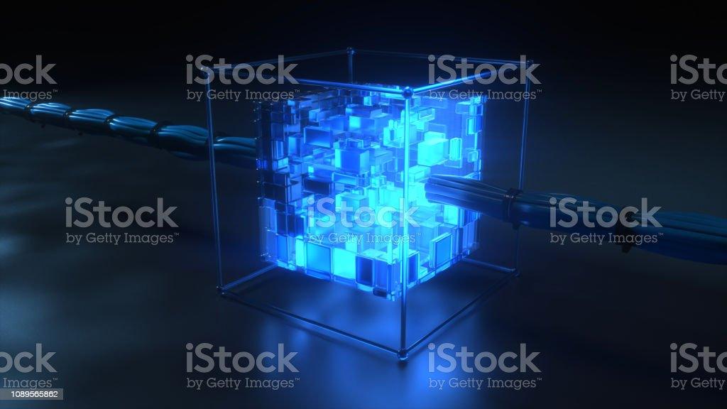Blockchain technology concept stock photo
