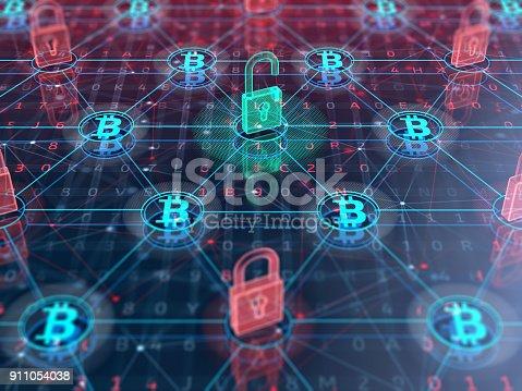 istock Blockchain technology concept 911054038