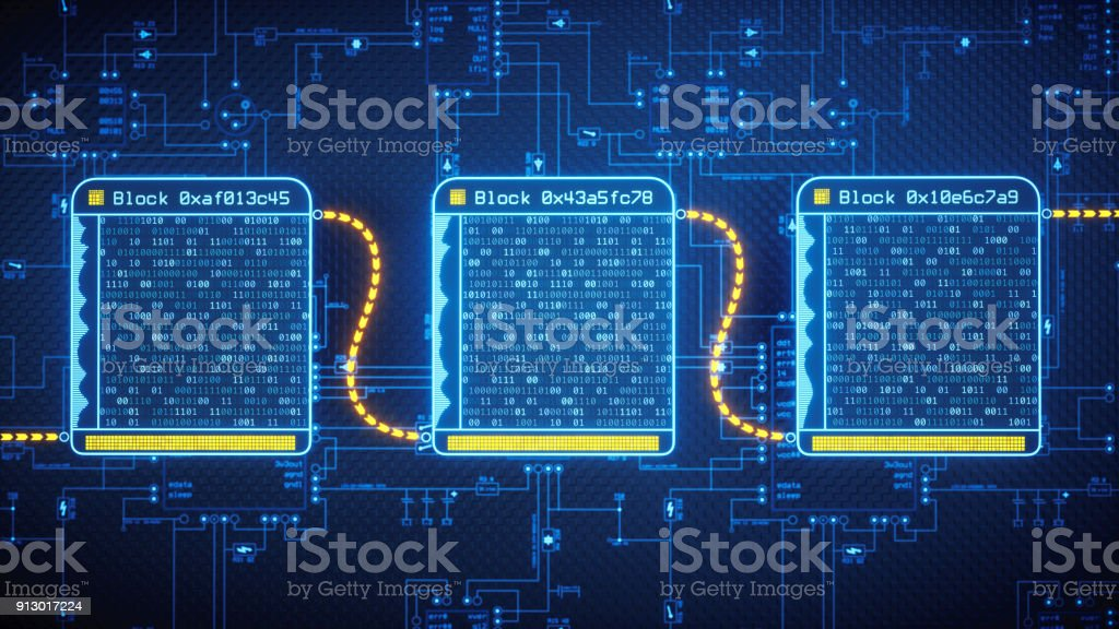 Blockchain Technology Concept Simple stock photo