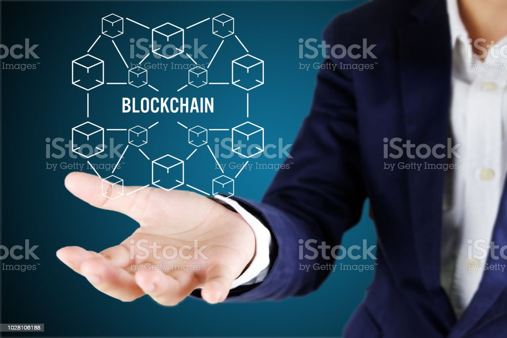 Blockchain technology concept with cube line connected stock photo