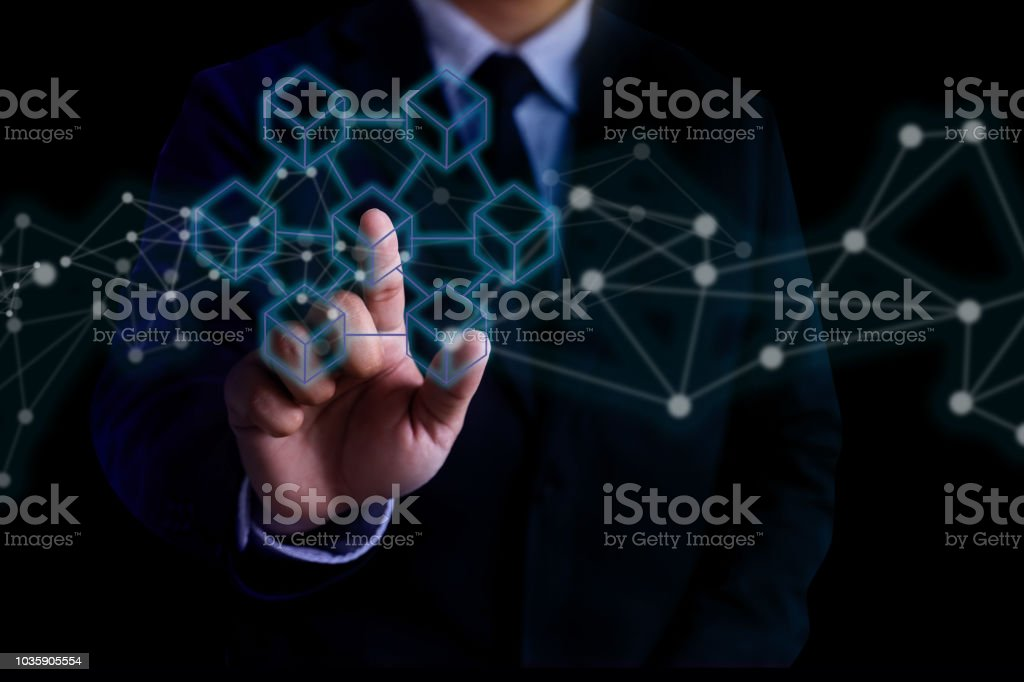 Blockchain technology  financial cryptocurrency such as bitcoin stock photo