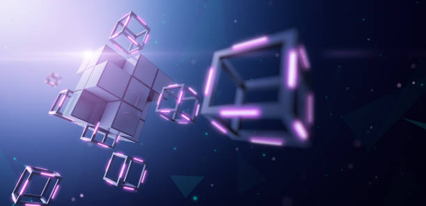 blockchain technology, large block dismantles in to small cube - blockchain foto e immagini stock