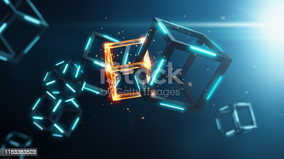 Blockchain technology on blue background - 3D Rendering