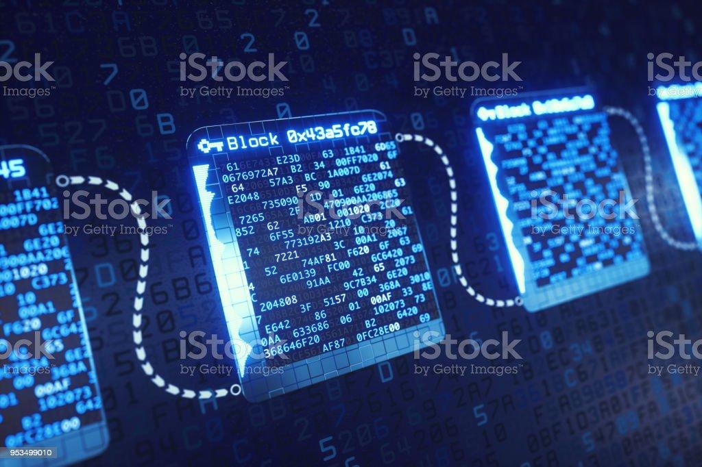 Blockchain tecnología estructura desenfocada - foto de stock