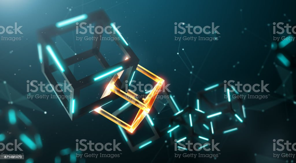 Blockchain technology with abstract background royalty-free stock photo