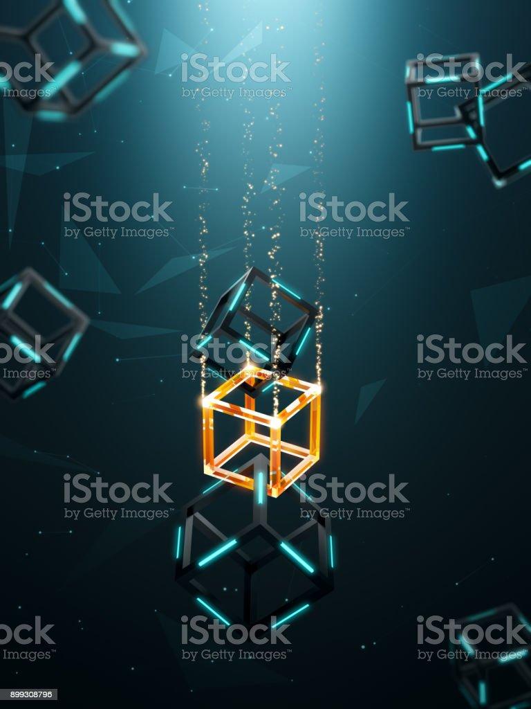 Tecnología blockchain con antecedentes - foto de stock