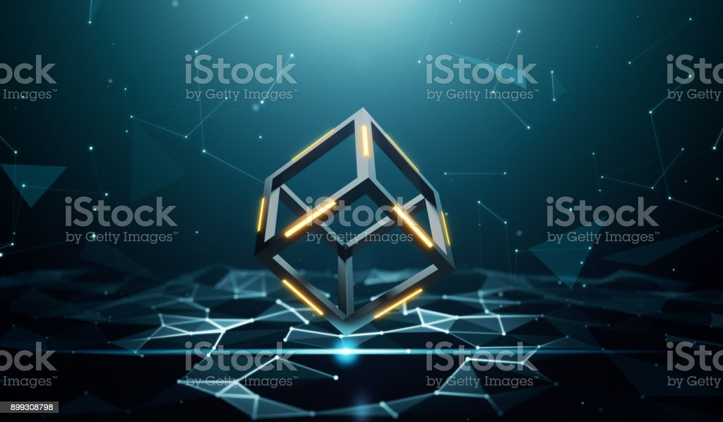 Blockchain technology with abstract background stock photo