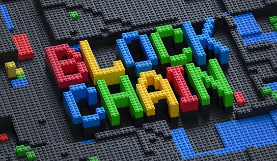 Blockchain technology concept. Bricks symbolize the idea of blocks in cryptography.