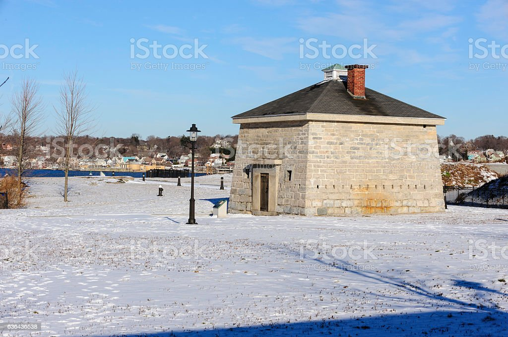 Blockhouse at Fort Trumbull State Park stock photo