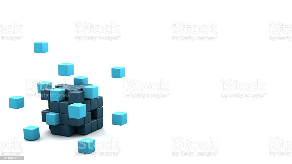 3D blocks cube stock photo