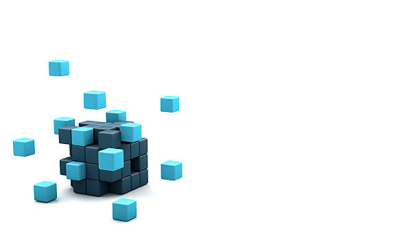 3d blocks cube - single object stock pictures, royalty-free photos & images