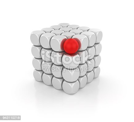 istock Blocks Cube with Red Sphere - 3D Rendering 943110218