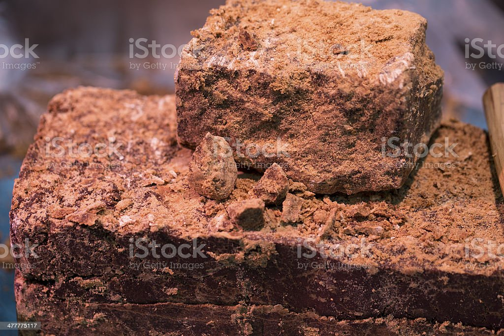 Blocks of Brown Cane Sugar stock photo