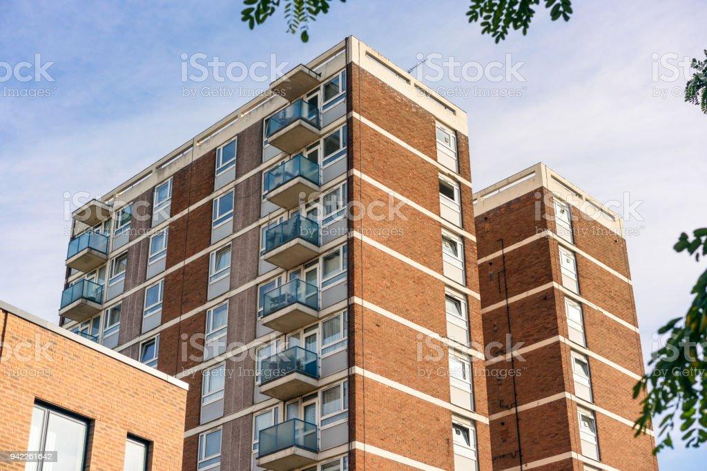 Blocks of flats in East London` stock photo