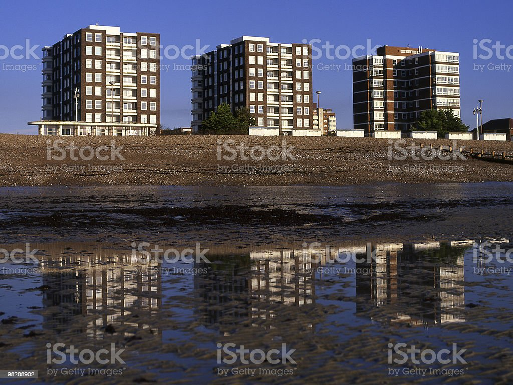 Blocks of Flats on Seafront. Worthing. West Sussex. England royalty-free stock photo